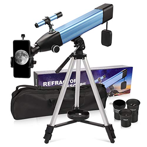 Telescope for Adults Astronomy, Refractor Telescope with 60mm Aperture 500mm AZ Mount Ideal for Beginners, Portable Travel Telescopes with Backpack, Phone Adapter