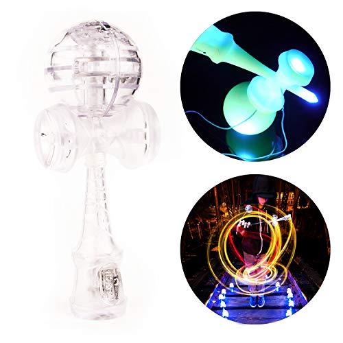 YoYo Factory Catchy LED Kendama - TRANSPARENT / Weiss (Japanisches Traditionelles Spielzeug, Beleuchtet, Vom Anfänger Zum Profi, Batterien Enthalten)