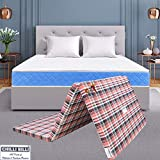 CHILLI BILLI Soft Top to Bottom Foldable Pu EPE Foam Red Check Single Bed Mattress (Color May Vary) (72 x 35 x 2 Inches)