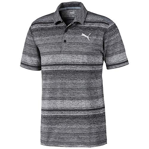 PUMA Golf 2020 Men's Variegated Stripe Polo, PUMA Black Heather, XX-Large
