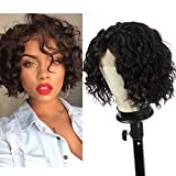 WIGENIUS Short Curly Lace Front Wigs Lace Parting Natural Hair Wigs Brazilian Deep Curl Short Human Hair Wigs for Black Women (Deep Curl)