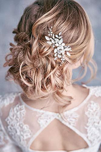 Simsly – Haarklammer mit silberfarbenen Blättern und Perlen, perfekt als Brautschmuck