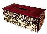 Funda para caja de pañuelos de trenzado de caña hecha con materiales sostenibles y ecológicos y un exquisito ribete de seda. (Rojo Burdeos)