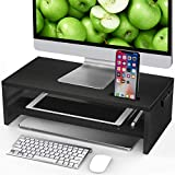 LORYERGO Monitor Stand Riser - 16.5 inch 2 Tier Desktop Stand for Laptop Computer, Desk Organizer with Phone Holder and Cable Management, Organization Stand for Printer & Office Supplies