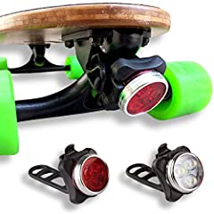 💡Fits Skateboard Trucks - Silicone strap ties easily on skateboards, longboards and electric boards. 💡Visibility For Your Rides - 4 different modes: full light, half light, fast flashing, slow flashing. 💡USB Rechargeable - Built in 650mAh usb-recharg...