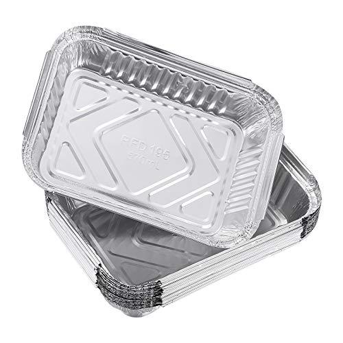 OUNONA Aluminium Schalen 570ml Grillschale eckig Tropfschalen Einweg Pfannen für Grills BBQ 30pcs