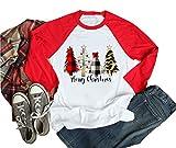 Cheetah Merry Christmas Tree Shirt Women Buffalo Plaid Leopard Print Baseball Raglan Sleeve Casual Funny Shirts for Womens (S, Red)