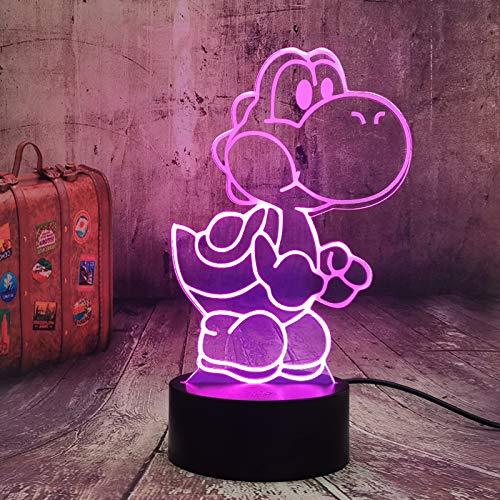 Yoshi - Luz nocturna LED 3D de Yoshi, 7 colores cambiantes, funciona con pilas, USB, luz nocturna para bebés, decoración de habitaciones, figura de acción, juguete de Navidad