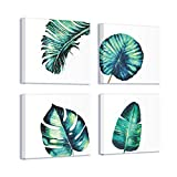 Boho Canvas Wall Art Tropical Plant Wall Art for Bathroom Botanical Paintings for Bedroom Living Room Wall Decor Ready to Hang 12x12 inch/piece, 4 Panels