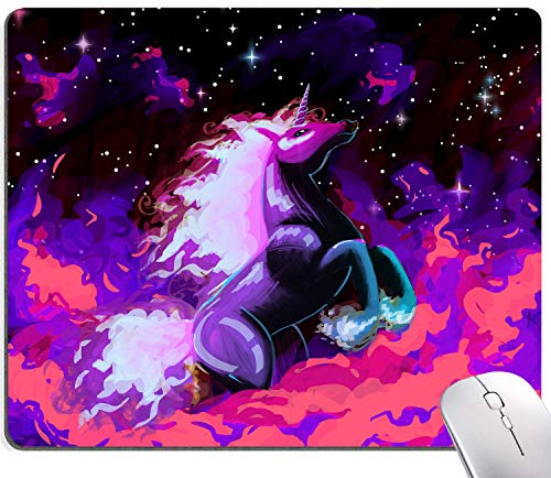 Fire Unicorn Mouse Pad, Starry Sky Mouse Pad, Gaming Mouse Mat, Square Waterproof MousePadNon-SlipRubberBaseMousePadsforOffice HomeLaptopTravel,9.5'x7.9'x0.12'Inch