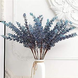 FuleHouzz 3 Pcs Soft Touch Artificial Eucalyptus Stems for Home Wedding Floral Arrangement