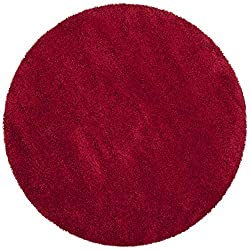 top 10 circle kitchen rugs Safavieh Milan Shag Collection SG180-4040 2 inch thick rug, 3 inch round, red