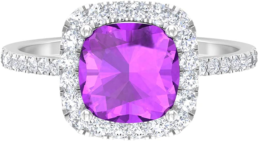 8 MM Lab Created Kunzite Ring Diamond Engagement National products Accent R HI-SI Excellent