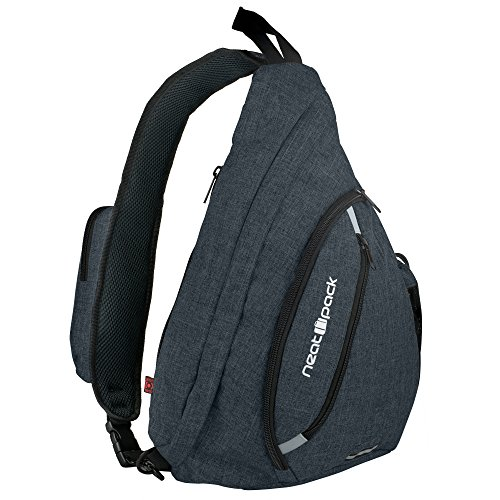 Versatile Canvas Sling Bag / Travel Backpack | Wear Over Shoulder or Crossbody (Black)