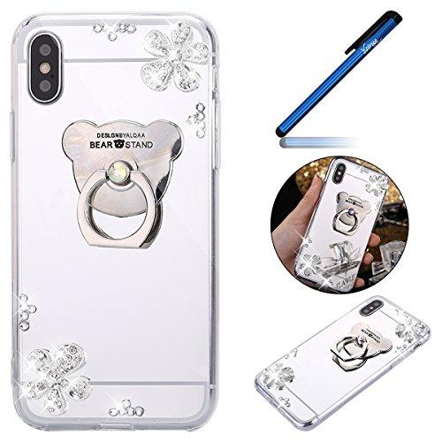 Ysimee Coque iPhone X, Miroir Silicone Étui Strass Glitter Fleur Brillante Housse de Protection avec Anneau Support Luxe Couleur Plaquée Ultra Mince e