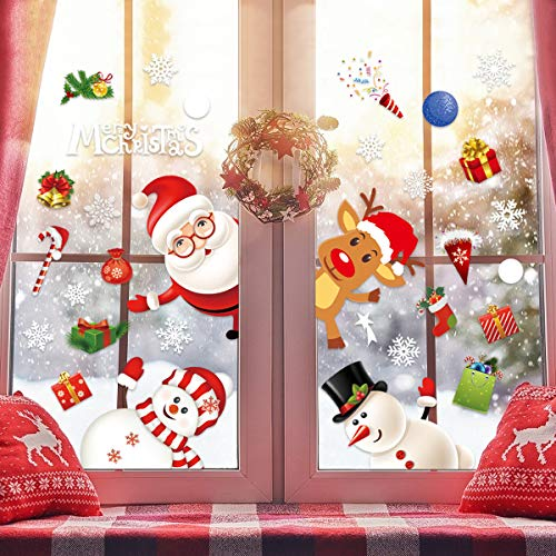WEARXI Weihnachtsdeko Fenster Wiederverwendbare Weihnachtsmann Sticker Fensterbilder, Weihnachts Fensterbilder Weihnachten Fensterdeko Aussen und Innen, Weihnachtsmann und Elch Aufkleber