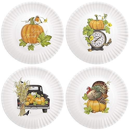 Mary Lake-Thompson Thanksgiving 7.5-inch Melamine Appetizer Plates, Set of 4