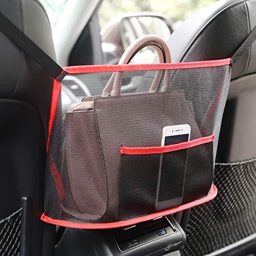 Car Net Pocket Handbag Holder, Car Handbag Holder Seat Back Organizer Mesh Large Capacity Bag for Purse Storage Phone Documents Pocket, Driver Storage Netting Pouch