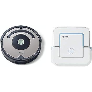 iRobot - Set con Roomba 615 Robot Aspirador para Suelos Duros y Alfombra, Tecnología Dirt Detect + Braava Jet 240 Robot Fregasuelos, 3 Modos de Limpieza, Óptimo Cocinas y Baños, Paños Desechables Incluidos: Amazon.es: Hogar