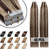 Extensiones Adhesivas de Cabello Natural 100g - 40 piezas 100% Remy humano extensiones de pelo (55cm,#4/27 Marrón Medio y Rubia Oscuro)