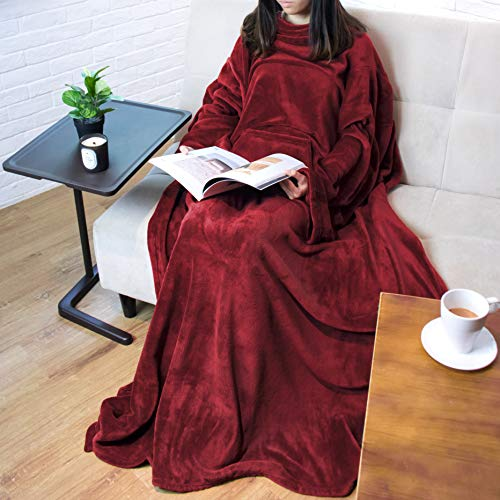 PAVILIA Premium Fleece Blanket with Sleeves for Adult, Women, Men | Warm, Cozy, Extra Soft,...