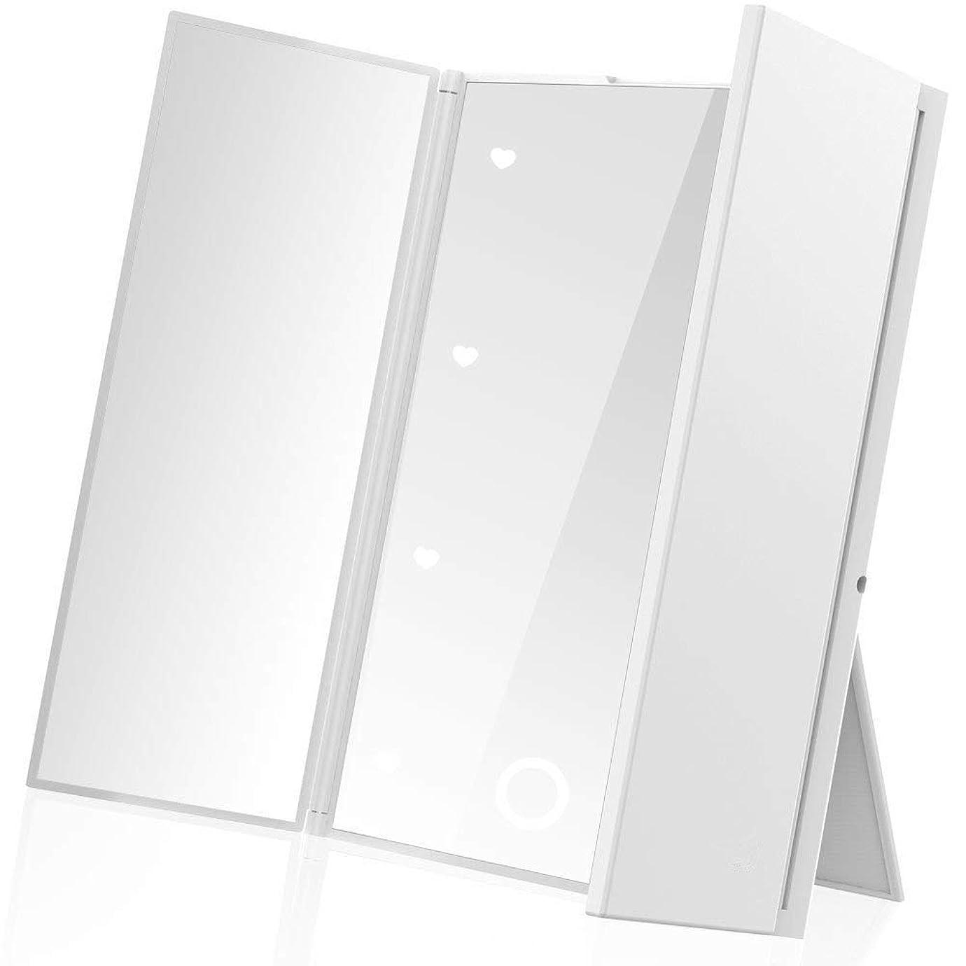 精神医学野望文房具LEEPWEI 鏡 卓上 スタンドミラー 三面鏡 化粧鏡 メイクミラー折りたたみ式 コンパックトLEDライト付き 電池型 持ち運び便利 (ホワイト)