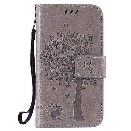ISAKEN Compatibile con Samsung Galaxy Core Prime G360 Custodia, Libro Flip Cover Portafoglio Wallet Case Albero Design in Pelle PU Protezione Caso con Supporto di Stand/Carte Slot/Chiusura - Grigio