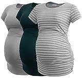 Smallshow Donne maternità Abbigliamento Top Camicia Abbigliamento Gravidanza 3-Pack Deep Green-Light Grey-Light Grey Stripe M