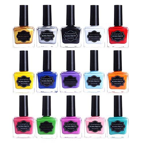 Born Pretty, set di 15 smalti colorati appositi per stampe sulle unghie