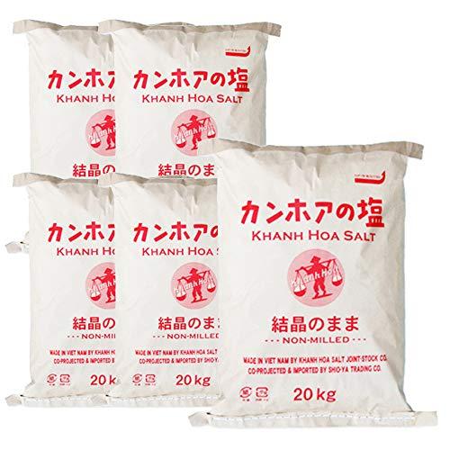 業務用 天日海塩 - カンホアの塩(結晶の粒のまま)20kg×5袋 昔ながらの天日塩 ベトナム・カンホアの美しい海水100%使用 太陽と風と人力でつくり上げる塩の芸術品