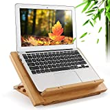 Bamboo Laptop Stand, Adjustable Tablet Holder with Natural Ventilation Cooling, Compatible with MacBook, Air, Pro, Surface Laptop, Ipad, Books,Cell Phone and More 9-15.6 Inch Laptop & Tablets