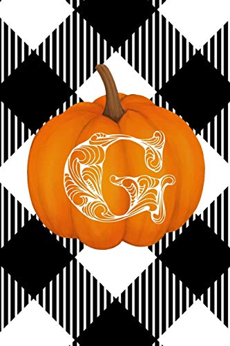 G: Cute Pumpkin Monogram Initial Letter G White Buffalo Plaid Check Personalized Gratitude Journal for Women and Girls