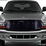 Topline Autopart Black Horizontal Front Hood Bumper Grill Grille ABS For 97-04 Dodge Dakota / 98-03 Durango