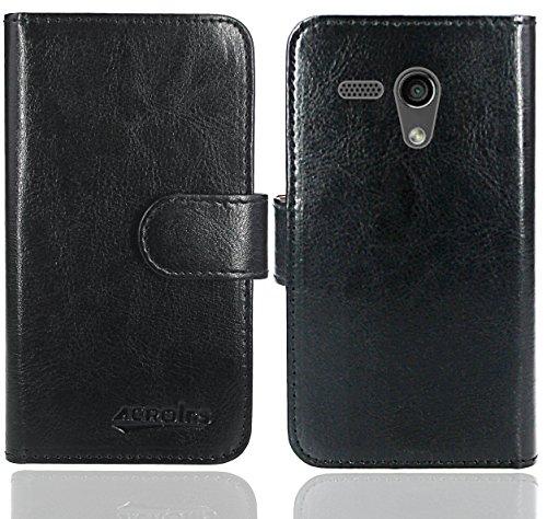FoneExpert® Moto G2 Handy Tasche, Wallet Case Flip Cover Hüllen Etui Ledertasche Lederhülle Premium Schutzhülle für Motorola Moto G 2nd Gen. 2014 (Wallet Schwarz)