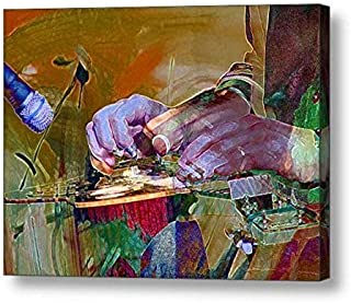 """Flaming Hands in Motion - 9""""H x 12""""W Canvas Print"""