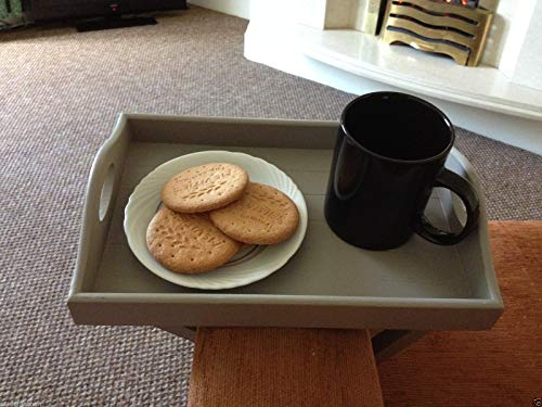 Grey Wooden Armchair Tray Sofa Tray drink holder remote holder wooden tray