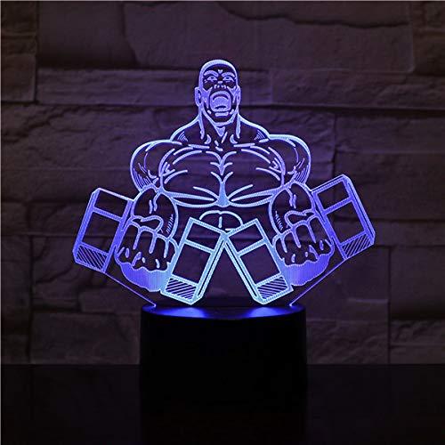 3D nachtlampje illusie lamp LED kinderen oefening halter fitness licht sfeerlicht afstandsbediening bedlampje 7 kleuren wisselende afstandsbediening bureau lampen verjaardagscadeau