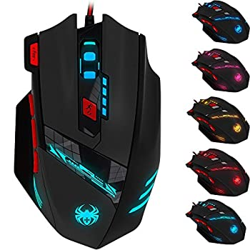 Gaming Mouse Wired ZELOTES T90 9200 DPI USB Computer Mice with 8 Buttons 13 LED Mode and Weight Tuning Set for Gamer Win 8/7/XP Vista Mac OS - Black