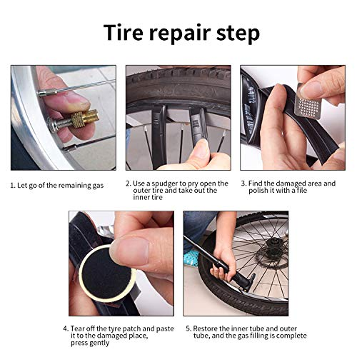 Bike Repair Tool Kits with Saddle Bag – Bicycle Multi Tool Puncture Repair Kits includes Tyre Spoons, Glueless Tyre Pads and Bicycle Valve Adapter - for Mountain Bikes and Road Bikes