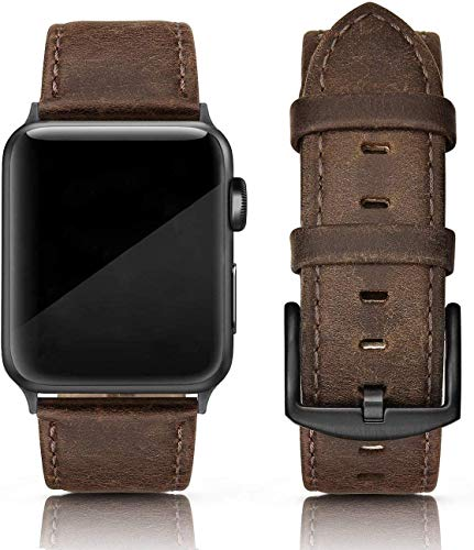 PARMPH Leather Band Compatible for Apple Watch 42mm 44mm, Genuine Leather Retro Vintage Wristband Compatible with iWatch Series 6 5 4 3 2 1 SE Sports & Edition Men, Retro Brown