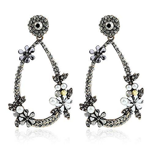 Gymqian Pendientes de Damas Retro Pendientes de Perlas Imitadas Femeninas Imitadas Diamante Pendientes Pendientes Pendientes Accesorios Moda/B