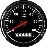 TONGDAUR Coche 85 mm tacómetro de Motor Fuera de borda Barco Auto Motor eléctrico Tach 6000 RPM con medidor Metro de la Hora (Color : BN 6KL RPM, Size : Gratis)