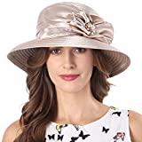 FORBUSITE Church Hat Lady Champagnes Kentucky Derby Hats Tea Party Bucket Hat