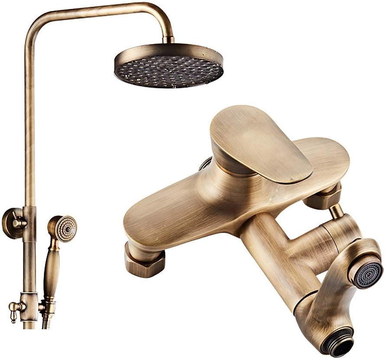 Retro Messing Wasserfall Exposed Shower Kit Vollkupfer Duschset, Wandmontage Duschstangen ausziehbar Badezimmer drehen kalt warm Wasserhahn (Farbe   Brass, Größe   A)
