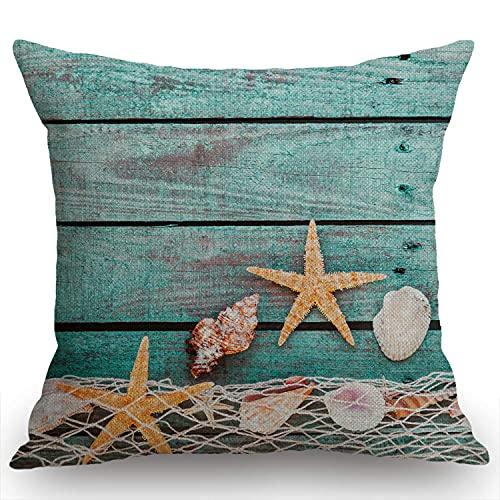 Bonito fondo náutico azul turquesa decorado con red de pesca drapeada y estrellas de mar en tablas de madera rústica pintadas, funda de cojín de lino de algodón 45,7 x 45,7 cm para sofá