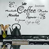 G Direct Coffee Word Cloud for Kitchen Cafe la Pared del Vinilo Graphic Transfer Expresso Latte 100x55 (Black)