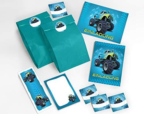JuNa-Experten 12 Einladungskarten Kindergeburtstag Jungen Jungs Monster-Truck / Auto / incl. 12 Umschläge, 12 Party-Tüten / blau, 12 Aufkleber, 12 Lesezeichen, 12 Mini-Notizblöcke