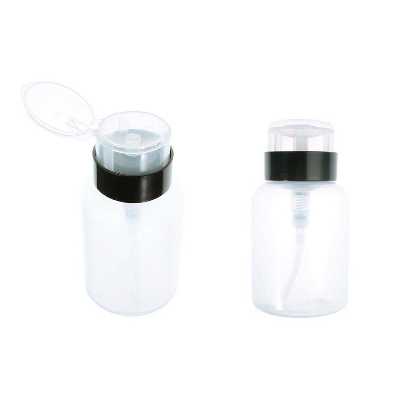 手紙を書く獣化学薬品1PCS(200ml)ビッグエンプティ透明プラスチックネイルアートポーランドリムーバークリーナーポンプディスペンサーボトルブラックスクリューリッド/化粧品リムーバーコンテナジャーをメイクアップ