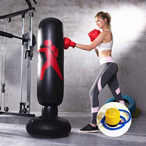 Inflatable punching boxing bag freestanding for kids and adults with free foot pump good for home workouts and cardio fitness (black)