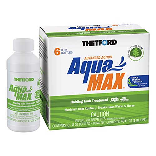 Thetford AquaMAX Summer Cypress Scent RV Holding Tank Treatment, Formaldehyde Free, Waste Digester, Septic Tank Safe, 6 Pack 8oz Bottles (96689)